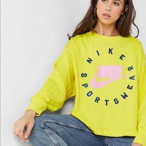 NWT Nike Women's Fleece Crew Sweatshirt Yellow